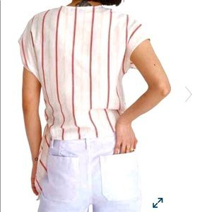 Madewell Tops - Madewell stripes sash tie top cap sleeves